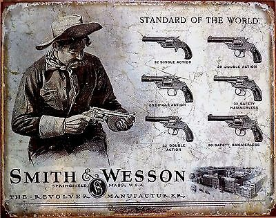 PLAQUE METAL PUBLICITAIRE USA country revolver SMITH & WESSON - 40 X 30 CM