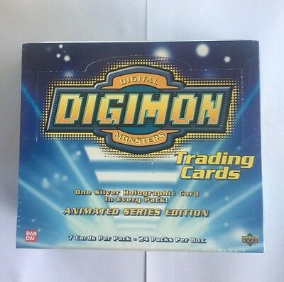 2000 Digimon Animated Series 1 Booster Box 24 Silver Holograms! HTF