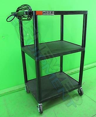 Quartet A/V Equipment Stand with 3-Outlet Power Strip and Locking Casters