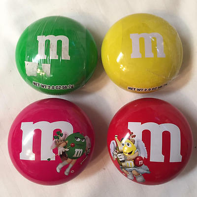 """Set Of 4 M&M's 3"""" Small Round Candy Holders Tins"""