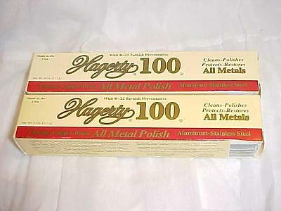 2 ~HAGERTY 100 METAL POLISH~ Cleans Protects 4oz Tubes LOT