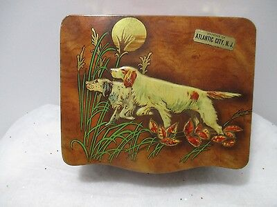 Pointer Dogs Tin Litho Souvenir Of Atlantic City N.j. Tin  Box Made In England