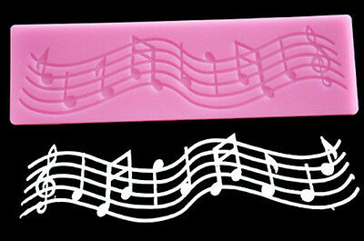 Musical Notes Lace Strip Silicone Mold for Fondant Gum Paste Chocolate Crafts