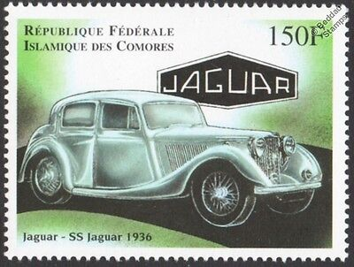 1936 JAGUAR SS Sedan Classic Car / Automobile Stamp (1998 Comoros)