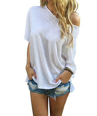 ISASSY Women's Summer Loose Casual Off Shoulder Gown Cotton T Shirt Blouse Tops