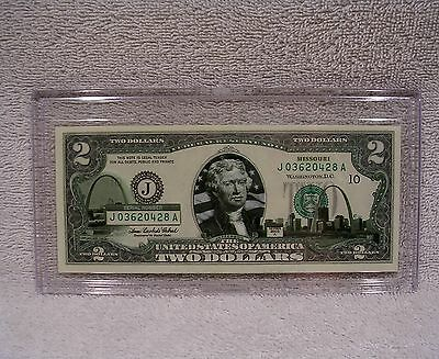 Missouri  $2 Two Dollar Bill - Colorized State Landmark - Uncirculated Authentic