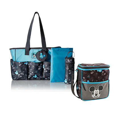 Disney Mickey Mouse 4-pcs Baby Diaper Bag + Small Bottle Diaper Bag Turquoise BK