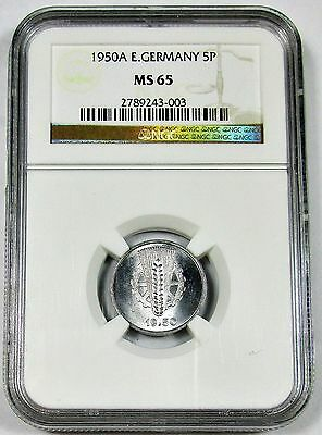 1950-A NGC MS 65 East Germany 5 Pfennig