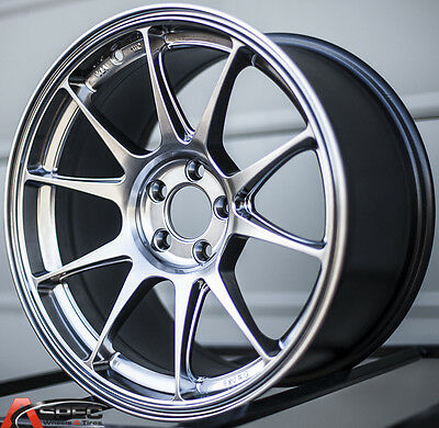 17X8 +45 ROTA TITAN 5X100 HYPER BLACK WHEELS Fits Neon Srt4 Forester Outback