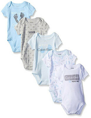 Calvin Klein Infant Boys 5pc Blue Foot Print Bodysuit Set Size 0/3M 3/6M 6/9M