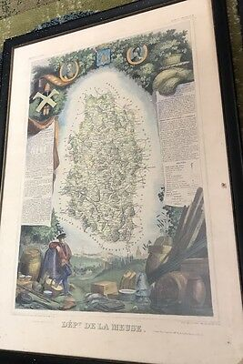 Antique Hand Colored Atlas National Illustre Framed Map