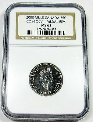 2000 NGC MS 62 Canada / Canadian Mule Quarter - Coin Obverse - Medal Reverse