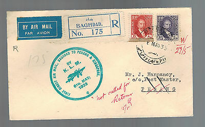 1933 Baghdad Iraq First Flight Cover KLM to Penang Malaya and Singapore FFC