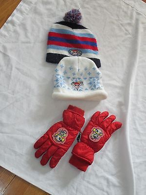 Cartoon Network Power Puff Girls Lot 2 Hats 1 Pair Gloves Girls Size 4