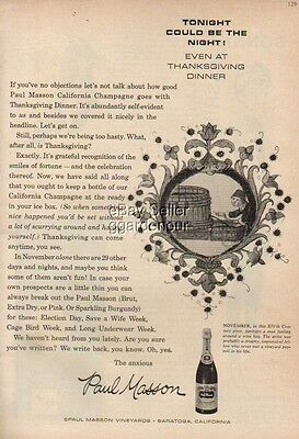 1958 Paul Masson Vineyards Saratoga CA Champagne 50s Ad MMXV