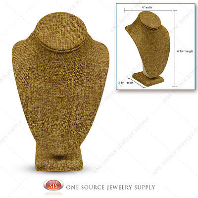 "Burlap Necklace Display Pendant Neck Form Jewelry Presentation Display 6 1/4""H"