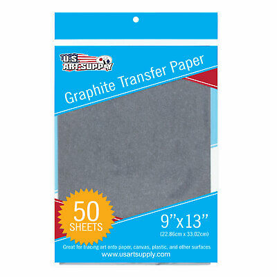 """US Art Supply Graphite Carbon Transfer Paper 9"""" x 13"""" - 50 Sheets"""