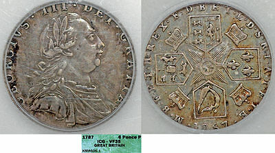 Great Britain. George III (1760-1820). Silver 6 Pence 1787. Toned, ICG VF35