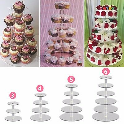 3/4/5/6 Tier Clear Acrylic Cupcake Stand Wedding Birthday Cake Display Tower