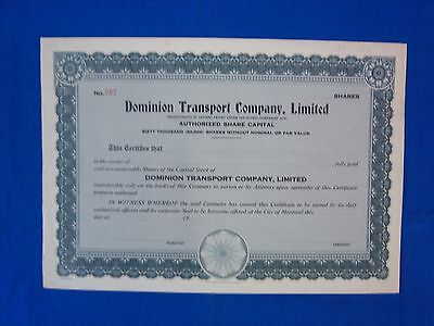 Stock Cert.: Dominion Transport Co., Limited of Canada, (S7165)