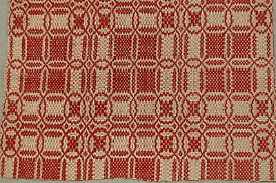 Antique Early Brick Red Primitive Woven Coverlet Piece