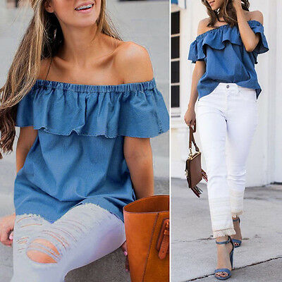 Summer Womens Off The Shoulder T-Shirt Casual Ladies Loose Tops Blouses Tee HOT!