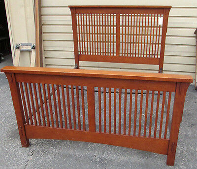 51790 Craftsman Mission Oak Queen Size Headboard FootBoard with Rails