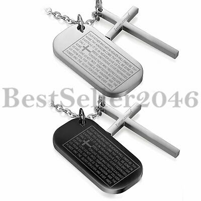 """Men Women Bible Prayer Cross Army Dog Tag Pendant Stainless Steel Necklace 22"""""""