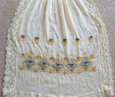Antique Edwardian Silk Lace Embroidered Pinafore Cream Pansy Flowers Victorian