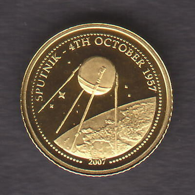 Mongolia. 2007 Gold 500 Togrog.  Sputnik Satellite..  0.5gram  .999 gold.. Proof