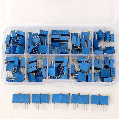 1*50Pcs 10value 3296 Trimmer Potentiometer Assorted Kit Variable Resistor