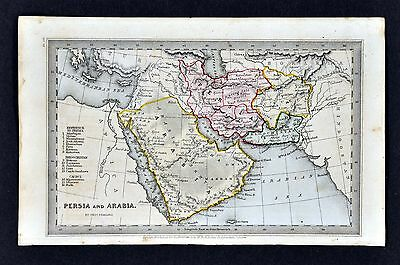 1834 Starling Miniature Map - Persia & Arabia  Iran Iraq Afghanistan Middle East