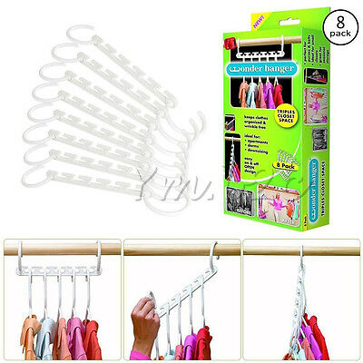 Wonder hanger triple closet space saver cloth organizer magic wardrobes display