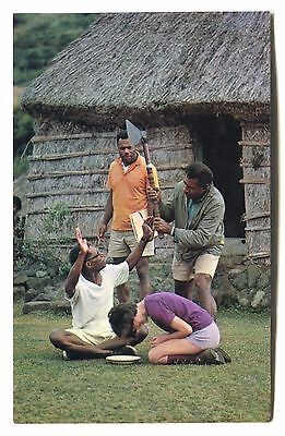 Fiji- cannibal past - the axe used to kill Rev Baker - c1971 used postcard