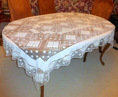 "Gorgeous Antique Hand Made Mondano Netting Lace Linen Tablecloth 75"" X 55"""
