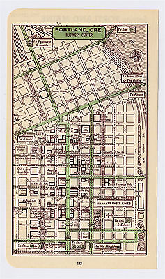 1951 Original Vintage Map Of Portland Oregon Downtown Business Center