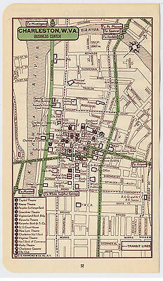 1951 Original Vintage Map Of Charleston West Virginia Downtown Business Center