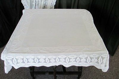 "ANTIQUE TABLECLOTH with EMBROIDERY+HAND CROCHET EDGE-38""SQ."