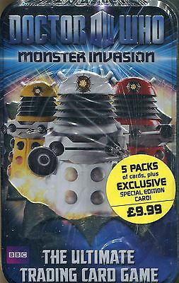 Doctor Who Monster Invasion Factory Sealed Tin 5 Packs & Exclusive Card