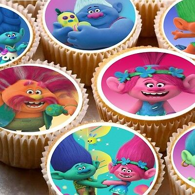 24 Cake topper decorations cupcake fairy cake icing wafer The Trolls Poppy