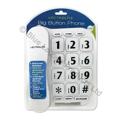 White Jumbo Telephone Big Button Speaker Corded Wall Mount Blind Partial Sighted