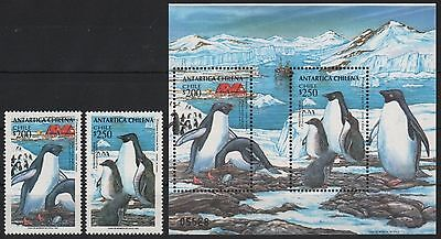 Chile 1993 - Mi-Nr. 1586-1587 & Block 31 ** - MNH - Pinguine / Penguins