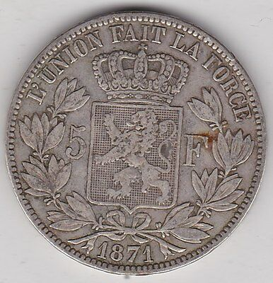 1871 Belgium Silver 5 Franc In Good Fine Condition