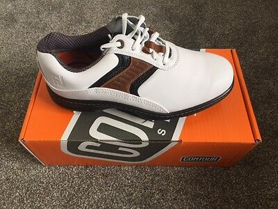 FOOTJOY CONTOUR SERIES GENTS GOLF SHOES Size 8 Colour WHITE/BROWN/BLACK NEW