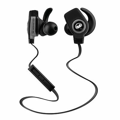 New Monster iSport Superslim Wireless Bluetooth In Ear Sports Headphones Black