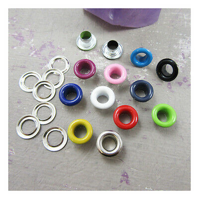 50 x ROUND 4mm EYELETS WITH WASHERS *14 COLOURS* COLOURFUL LEATHERCRAFTS REPAIR