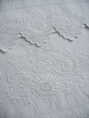 Pair of antique hand embroidered white Irish linen pillowcases, shamrocks, roses