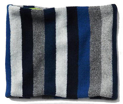 Gap Kids NWT Boys Blue Gray Stripe Knit Fleece Gaitor Balaclava Neck Warmer $30