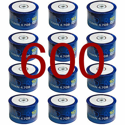 600 Pack Box Aone DVD-R 16x Full Face White Inkjet Printable Discs 4.7GB 120min