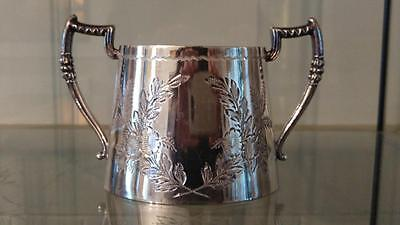 Elegant Antique Engraved Silver Plated Two Handled Sugar Bowl  C 1872